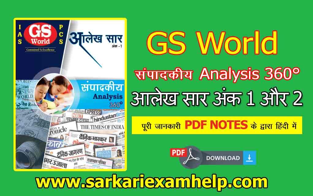 संपादकीय Analysis 360° GS World आलेख सार अंक 1 और 2 का Hindi PDF