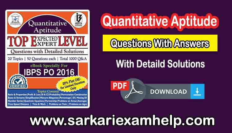 Quantitative Aptitude Questions With Answers PDF Download