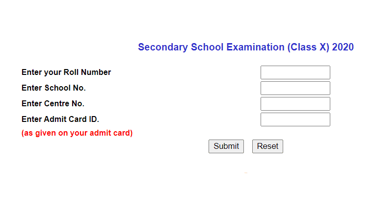 cbse.nic.in 2020 result class 10