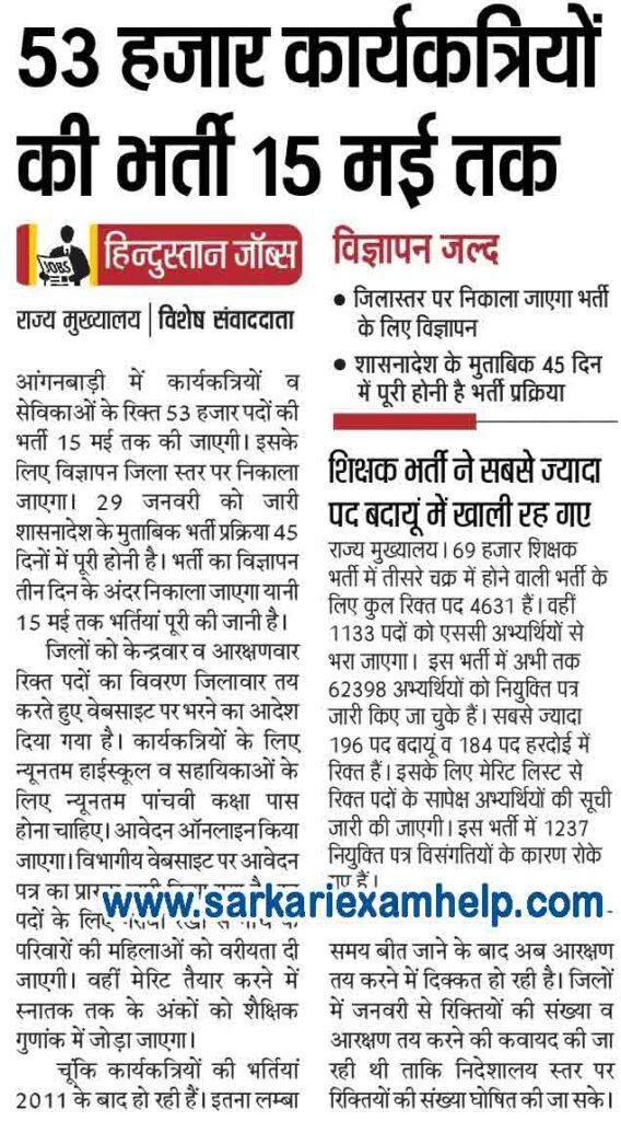 UP Anganwadi Bharti Latest News