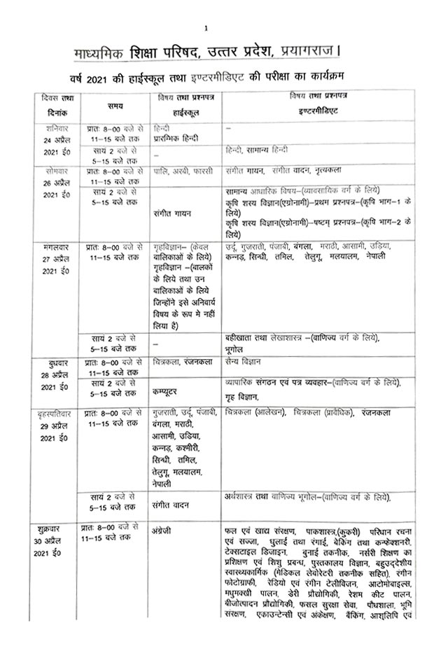 UP Board Time Table 2021 12th