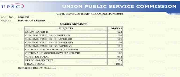 Raushan Kumar IAS Rank 114 Marksheet