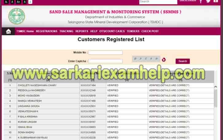 SSMMS-Customer Registered List