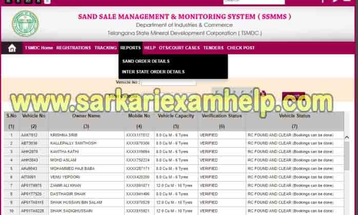 ts sand vehicle registration list 2021